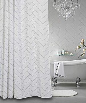 Aimjerry Hotel Quality White Striped Fabric Shower Curtain For Bathroom 72 X 72 Inch 0 300x360