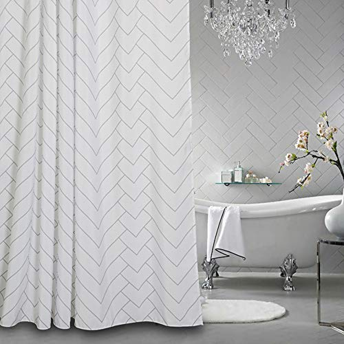 Aimjerry Hotel Quality White Striped Fabric Shower Curtain For Bathroom 72 X 72 Inch 0