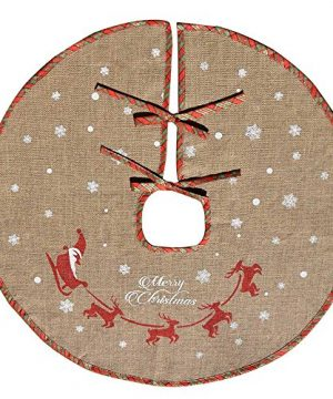 Amajoy Merry Christmas Tree Skirt White Snowflake Burlap Tree Skirt For Xmas Decor Festive Holiday Decoration 30 Inch In Diameter 0 300x360