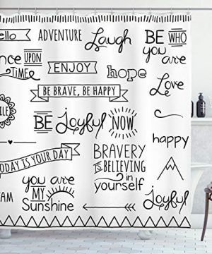 Ambesonne Adventure Shower Curtain Various Words On Happiness And Self Value Uplifting Phrases Being Who You Are Cloth Fabric Bathroom Decor Set With Hooks 84 Long Extra Black White 0 300x360