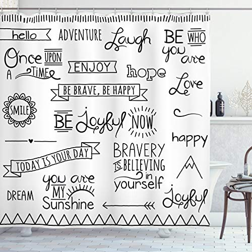 Ambesonne Adventure Shower Curtain Various Words On Happiness And Self Value Uplifting Phrases Being Who You Are Cloth Fabric Bathroom Decor Set With Hooks 84 Long Extra Black White 0