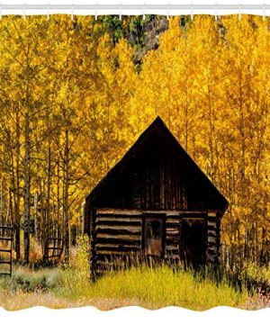 Ambesonne Autumn Shower Curtain Abandoned Wooden Farmhouse In Fall With Aspen Trees Rural Pastoral Nature Scene Cloth Fabric Bathroom Decor Set With Hooks 84 Long Extra Yellow Brown 0 0 300x360