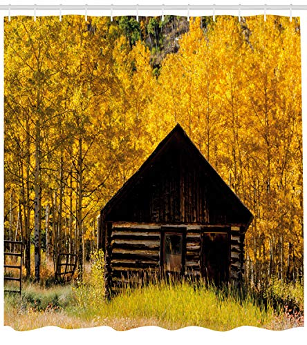 Ambesonne Autumn Shower Curtain Abandoned Wooden Farmhouse In Fall With Aspen Trees Rural Pastoral Nature Scene Cloth Fabric Bathroom Decor Set With Hooks 84 Long Extra Yellow Brown 0 0