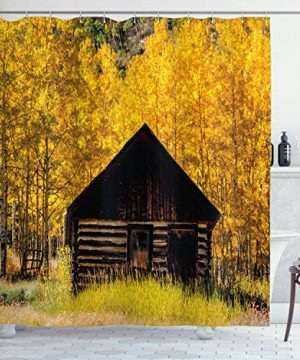 Ambesonne Autumn Shower Curtain Abandoned Wooden Farmhouse In Fall With Aspen Trees Rural Pastoral Nature Scene Cloth Fabric Bathroom Decor Set With Hooks 84 Long Extra Yellow Brown 0 300x360