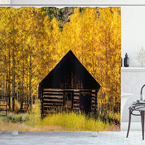 Ambesonne Autumn Shower Curtain Abandoned Wooden Farmhouse In Fall With Aspen Trees Rural Pastoral Nature Scene Cloth Fabric Bathroom Decor Set With Hooks 84 Long Extra Yellow Brown 0
