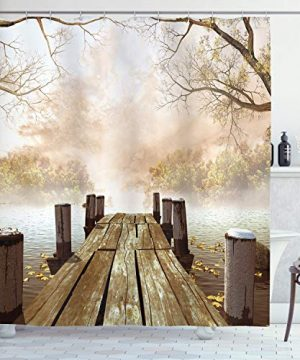Ambesonne Autumn Shower Curtain Old Wooden Jetty On A Lake With Fallen Leaves And Foggy Forest In Distance Cloth Fabric Bathroom Decor Set With Hooks 70 Long Brown Beige 0 300x360