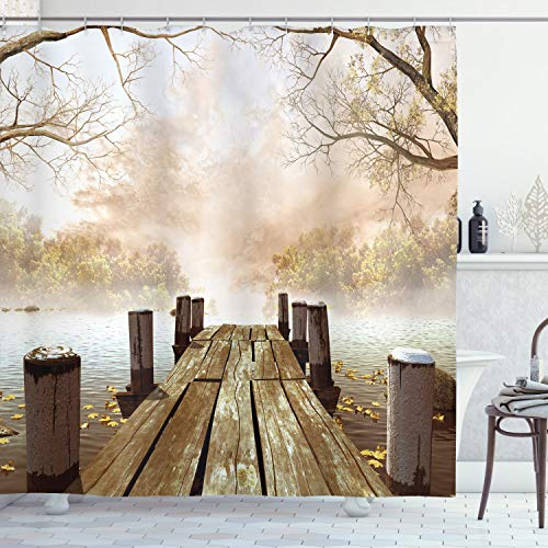 Ambesonne Autumn Shower Curtain Old Wooden Jetty On A Lake With Fallen Leaves And Foggy Forest In Distance Cloth Fabric Bathroom Decor Set With Hooks 70 Long Brown Beige 0