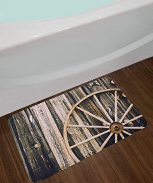 Ambesonne Barn Wood Wagon Wheel Bath Mat Wooden Barn Door And Vintage Rusty Wheel Rustic Home Farm Plush Bathroom Decor Mat With Non Slip Backing 295 X 175 Black Brown 0 0 300x360