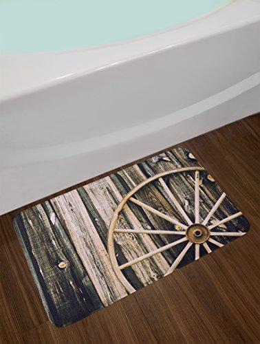 Ambesonne Barn Wood Wagon Wheel Bath Mat Wooden Barn Door And Vintage Rusty Wheel Rustic Home Farm Plush Bathroom Decor Mat With Non Slip Backing 295 X 175 Black Brown 0 0
