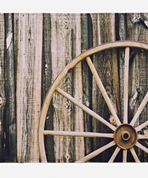 Ambesonne Barn Wood Wagon Wheel Bath Mat Wooden Barn Door And Vintage Rusty Wheel Rustic Home Farm Plush Bathroom Decor Mat With Non Slip Backing 295 X 175 Black Brown 0 300x360