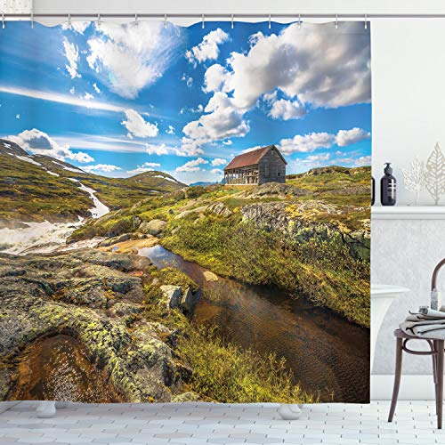 Ambesonne Farm House Decor Collection Abandoned House Into Wilderness By River On Hillside With Stones Highland Landscape Polyester Fabric Bathroom Shower Curtain 84 Inches Extra Long Geen Blue 0