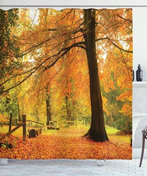 Ambesonne Farm House Decor Collection Autumn Fall Forest Scene With Vibrant Colors And Pale Leaves Tranquil Peace Nature Polyester Fabric Bathroom Shower Curtain 84 Inches Extra Long Orange Brown 0 300x360