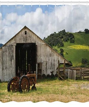 Ambesonne Farm House Decor Collection Old Wooden Barn With Rusted Tractor On Hillside Enclosed With Wooden Fence And Trees Polyester Fabric Bathroom Shower Curtain 84 Inches Extra Long Green White 0 0 300x360