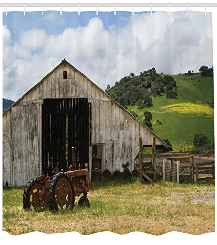 Ambesonne Farm House Decor Collection Old Wooden Barn With Rusted Tractor On Hillside Enclosed With Wooden Fence And Trees Polyester Fabric Bathroom Shower Curtain 84 Inches Extra Long Green White 0 0