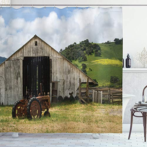 Ambesonne Farm House Decor Collection Old Wooden Barn With Rusted Tractor On Hillside Enclosed With Wooden Fence And Trees Polyester Fabric Bathroom Shower Curtain 84 Inches Extra Long Green White 0