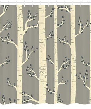 Ambesonne Grey Shower Curtain Birch Tree Branches Vintage Bohemian Contemporary Illustration Of Nature Cloth Fabric Bathroom Decor Set With Hooks 84 Long Extra Warm Taupe 0 0 300x360