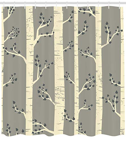 Ambesonne Grey Shower Curtain Birch Tree Branches Vintage Bohemian Contemporary Illustration Of Nature Cloth Fabric Bathroom Decor Set With Hooks 84 Long Extra Warm Taupe 0 0
