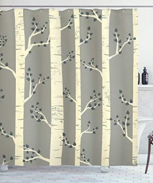 Ambesonne Grey Shower Curtain Birch Tree Branches Vintage Bohemian Contemporary Illustration Of Nature Cloth Fabric Bathroom Decor Set With Hooks 84 Long Extra Warm Taupe 0 300x360