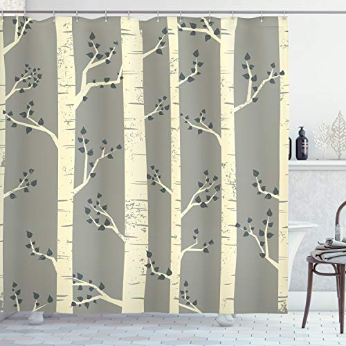 Ambesonne Grey Shower Curtain Birch Tree Branches Vintage Bohemian Contemporary Illustration Of Nature Cloth Fabric Bathroom Decor Set With Hooks 84 Long Extra Warm Taupe 0