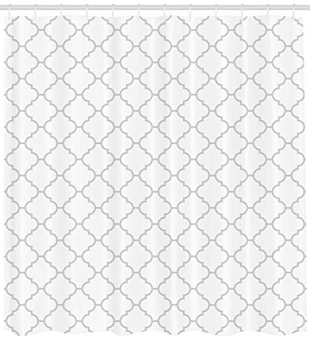 Ambesonne Grey Shower Curtain Simple Monochrome Patterns Geometric Linked Forms On Plain Background Modern Cloth Fabric Bathroom Decor Set With Hooks 84 Long Extra White Gray 0 0