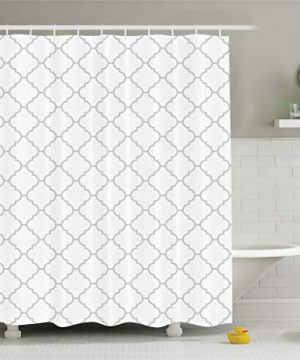 Ambesonne Grey Shower Curtain Simple Monochrome Patterns Geometric Linked Forms On Plain Background Modern Cloth Fabric Bathroom Decor Set With Hooks 84 Long Extra White Gray 0 1 300x360