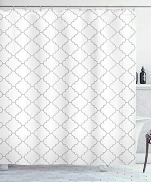 Ambesonne Grey Shower Curtain Simple Monochrome Patterns Geometric Linked Forms On Plain Background Modern Cloth Fabric Bathroom Decor Set With Hooks 84 Long Extra White Gray 0 300x360