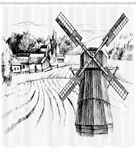 Ambesonne Landscape Shower Curtain Hand Drawn Rural Scenery Small Town Farm Houses Forest And Mill Romantic Sketch Cloth Fabric Bathroom Decor Set With Hooks 84 Long Extra White Black 0 0