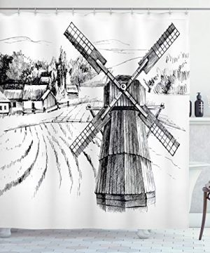 Ambesonne Landscape Shower Curtain Hand Drawn Rural Scenery Small Town Farm Houses Forest And Mill Romantic Sketch Cloth Fabric Bathroom Decor Set With Hooks 84 Long Extra White Black 0 300x360