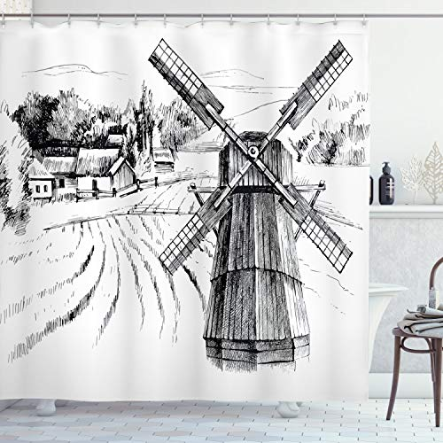 Ambesonne Landscape Shower Curtain Hand Drawn Rural Scenery Small Town Farm Houses Forest And Mill Romantic Sketch Cloth Fabric Bathroom Decor Set With Hooks 84 Long Extra White Black 0