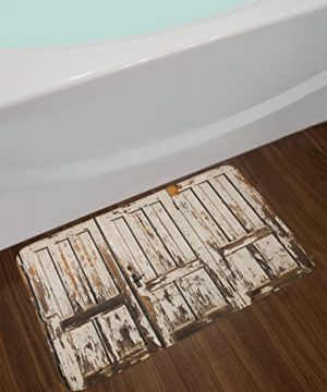 Ambesonne Rustic Bath Mat Vintage House Entrance With Vertical Old Planks Distressed Rustic Hardwood Design Plush Bathroom Decor Mat With Non Slip Backing 295 W X 175 L Inches Brown White 0 0 300x360