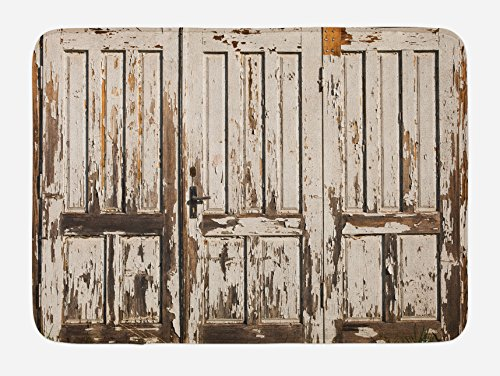 Ambesonne Rustic Bath Mat Vintage House Entrance With Vertical Old Planks Distressed Rustic Hardwood Design Plush Bathroom Decor Mat With Non Slip Backing 295 W X 175 L Inches Brown White 0