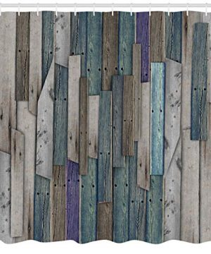 Ambesonne Rustic Shower Curtain Image Of Blue Grey Grunge Wood Planks Barn House Door Nails Country Life Theme Print Cloth Fabric Bathroom Decor Set With Hooks 70 Long Teal Purple 0 0 300x360