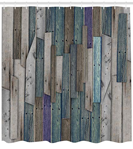 Ambesonne Rustic Shower Curtain Image Of Blue Grey Grunge Wood Planks Barn House Door Nails Country Life Theme Print Cloth Fabric Bathroom Decor Set With Hooks 70 Long Teal Purple 0 0