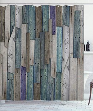 Ambesonne Rustic Shower Curtain Image Of Blue Grey Grunge Wood Planks Barn House Door Nails Country Life Theme Print Cloth Fabric Bathroom Decor Set With Hooks 70 Long Teal Purple 0 300x360