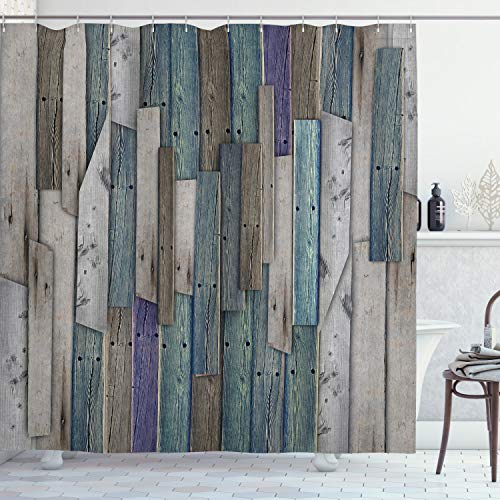 Ambesonne Rustic Shower Curtain Image Of Blue Grey Grunge Wood Planks Barn House Door Nails Country Life Theme Print Cloth Fabric Bathroom Decor Set With Hooks 70 Long Teal Purple 0