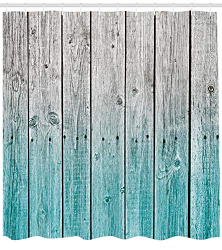 Ambesonne Rustic Shower Curtain Wood Panels Background With Digital Tones Effect Country House Art Image Cloth Fabric Bathroom Decor Set With Hooks 75 Long Teal Grey 0 0