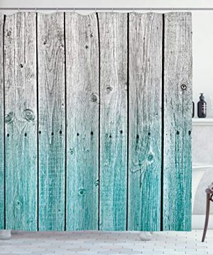 Ambesonne Rustic Shower Curtain Wood Panels Background With Digital Tones Effect Country House Art Image Cloth Fabric Bathroom Decor Set With Hooks 75 Long Teal Grey 0 300x360