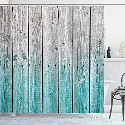 Ambesonne Rustic Shower Curtain Wood Panels Background With Digital Tones Effect Country House Art Image Cloth Fabric Bathroom Decor Set With Hooks 75 Long Teal Grey 0