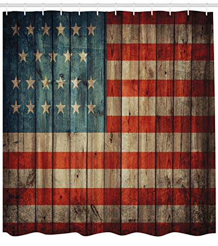 Ambesonne USA Shower Curtain Fourth Of July Independence Day Painted Old Wooden Rustic Background Patriot Cloth Fabric Bathroom Decor Set With Hooks 70 Long Blue Red 0 0
