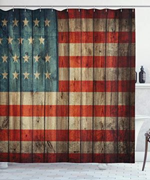 Ambesonne USA Shower Curtain Fourth Of July Independence Day Painted Old Wooden Rustic Background Patriot Cloth Fabric Bathroom Decor Set With Hooks 70 Long Blue Red 0 300x360