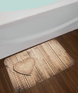 Ambesonne Valantines Day Bath Mat Rustic Heart Over Wooden Planks Background Lovers Corner Romantic Celebration Print Plush Bathroom Decor Mat With Non Slip Backing 295 X 175 Tan 0 0 300x360