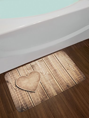 Ambesonne Valantines Day Bath Mat Rustic Heart Over Wooden Planks Background Lovers Corner Romantic Celebration Print Plush Bathroom Decor Mat With Non Slip Backing 295 X 175 Tan 0 0