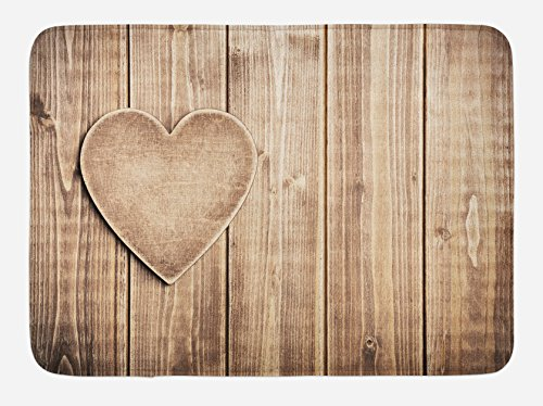 Ambesonne Valantines Day Bath Mat Rustic Heart Over Wooden Planks Background Lovers Corner Romantic Celebration Print Plush Bathroom Decor Mat With Non Slip Backing 295 X 175 Tan 0