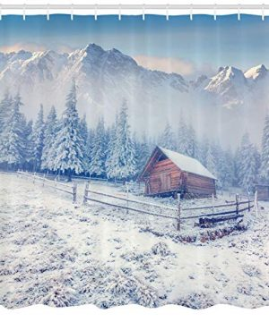 Ambesonne Winter Shower Curtain Old Farmhouse In Snow Mountains And Frosted Forest Rustic Life Photography Cloth Fabric Bathroom Decor Set With Hooks 84 Long Extra Caramel White 0 0 300x360