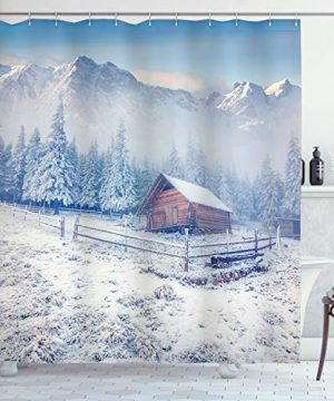Ambesonne Winter Shower Curtain Old Farmhouse In Snow Mountains And Frosted Forest Rustic Life Photography Cloth Fabric Bathroom Decor Set With Hooks 84 Long Extra Caramel White 0 300x360