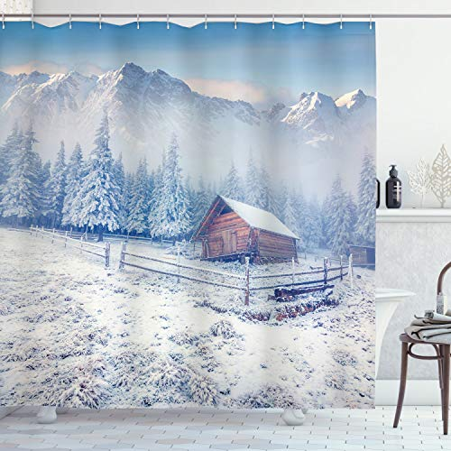 Ambesonne Winter Shower Curtain Old Farmhouse In Snow Mountains And Frosted Forest Rustic Life Photography Cloth Fabric Bathroom Decor Set With Hooks 84 Long Extra Caramel White 0