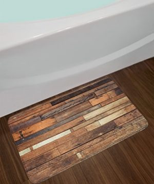 Ambesonne Wooden Bath Mat Rustic Floor Planks Print Grungy Look Farm House Country Style Walnut Oak Grain Image Plush Bathroom Decor Mat With Non Slip Backing 295 W X 175 L Inches Brown 0 0 300x360