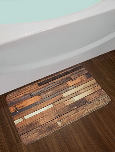 Ambesonne Wooden Bath Mat Rustic Floor Planks Print Grungy Look Farm House Country Style Walnut Oak Grain Image Plush Bathroom Decor Mat With Non Slip Backing 295 W X 175 L Inches Brown 0 0