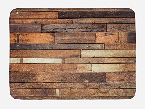 Ambesonne Wooden Bath Mat Rustic Floor Planks Print Grungy Look Farm House Country Style Walnut Oak Grain Image Plush Bathroom Decor Mat With Non Slip Backing 295 W X 175 L Inches Brown 0