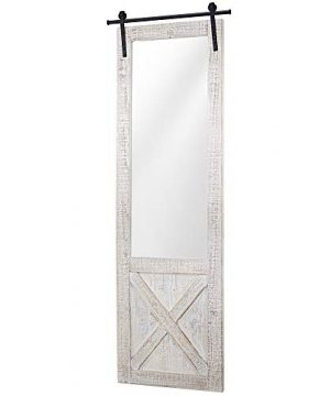 American Art Dcor Whitewashed Wood Hanging Barn Door Wall Mirror 0 300x360